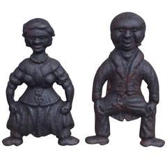 Pair of American Cast Iron Figural Andirons. Circa 1840