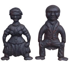 Pair of American Cast Iron Figural Andirons. Circa 1840