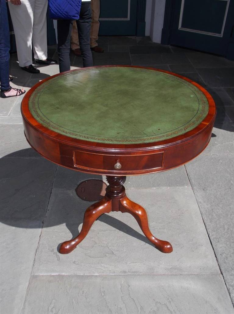 English Gany Three Drawer Leather Top Drum Table With Turned Bulbous Spiral Pedestal Terminating On