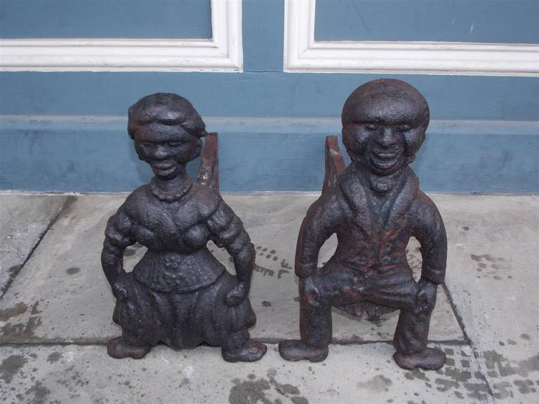 American Colonial Pair of American Cast Iron Figural Andirons. Circa 1840 For Sale