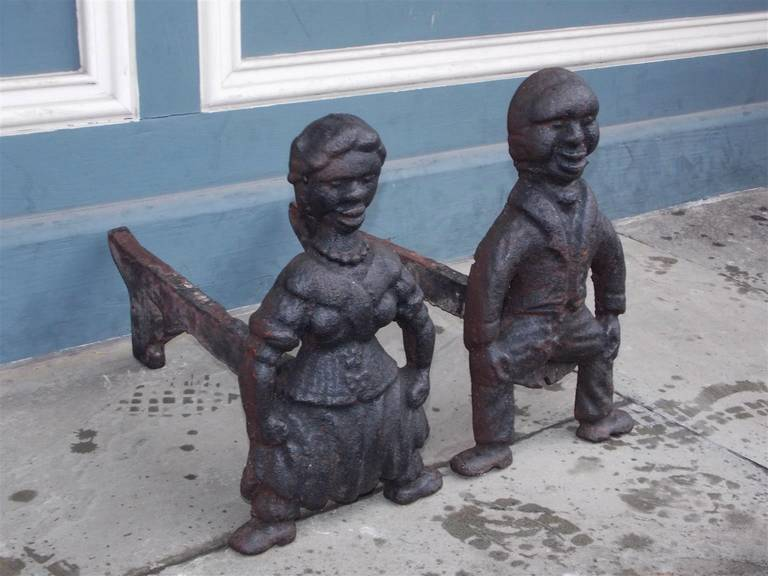 Pair of American Cast Iron Figural Andirons. Circa 1840 In Excellent Condition For Sale In Charleston, SC