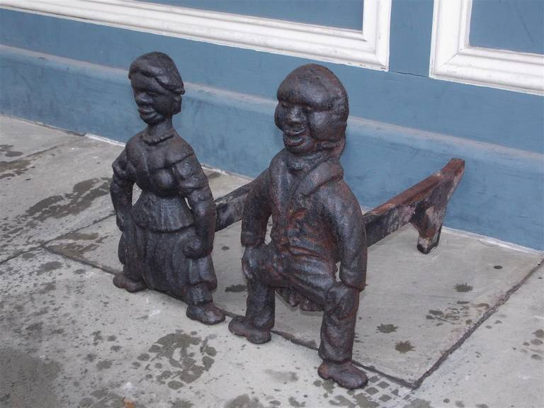 Pair of American Cast Iron Figural Andirons. Circa 1840 For Sale 1