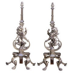 English Nickel Silver & Polished Steel Andirons