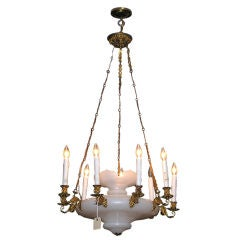 French Opaline and Gilt Bronze Chandelier