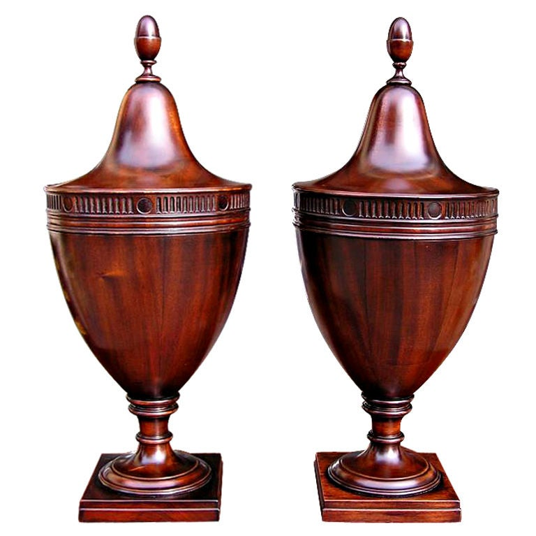 Pair of American Mahogany Cutlery Boxes