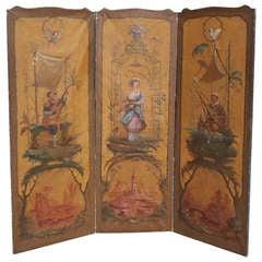 French Three Panel Screen . Circa 1820