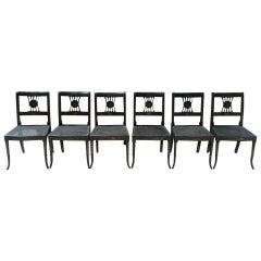 Set of Six English Chinoiserie Side Chairs. Circa 1820-30