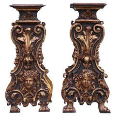 Pair of Italian Painted and Gilt Pedestals. Circa 1770