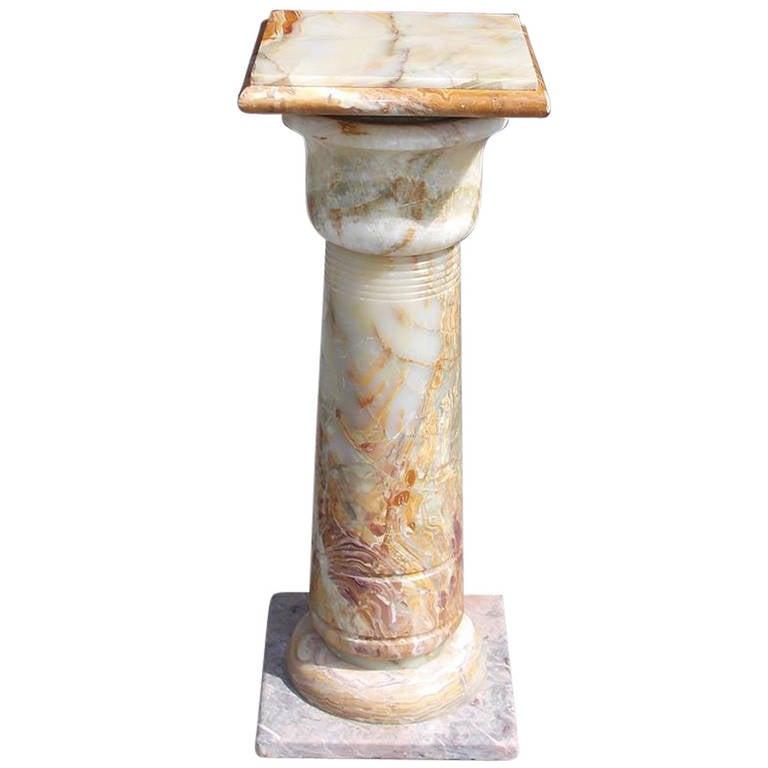 French Bulbous Onyx Pedestal, Circa 1890