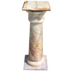 French Bulbous Onyx Pedestal, Circa 1890