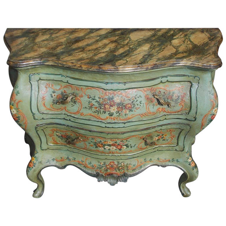 Venetian Hand-Painted, Two-Drawer Commode, Circa 1880