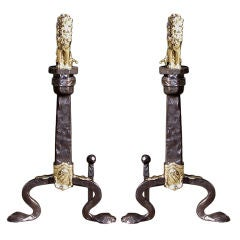 Pair of English Bronze and Polished Steel Andirons