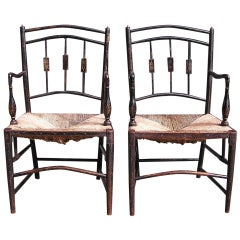 Pair of English Regency Painted and Stenciled Arm Chairs. C.1790