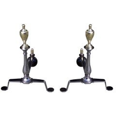 English Polished Steel and Brass Andirons
