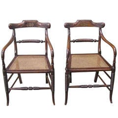 Pair of English Regency Rosewood Arm Chairs. Circa 1810-15