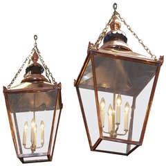 Pair of French Copper Hanging Lanterns.  Circa 1820-30