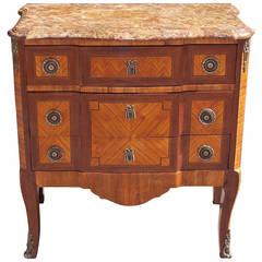 French Marquetry Marble Top Commode, Circa 1820