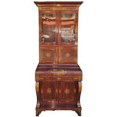 American Mahogany and Stenciled Secretary with Bookcase. NY Circa 1825