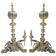 Pair of English Period Regal Fluted Ball Top and Lion Andirons, Circa 1820