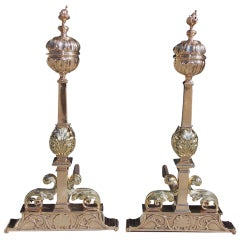 Pair of American Bronze Fluted Ball Top and Flame Andirons, Circa 1840