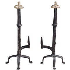 Pair of American Wrought Iron and Brass Melon Top Andirons, Circa 1780