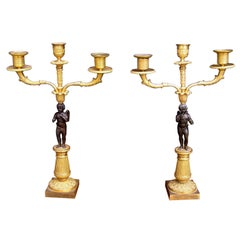 Pair of French Ormolu Cherub Candelabras