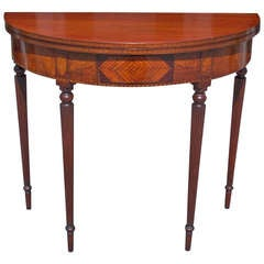American Mahogany Demi-lune  Game Table. Circa 1810