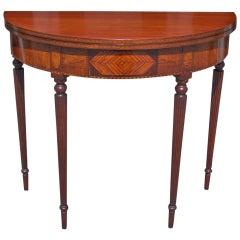 American Mahogany Demi-lune  Game Table. Circa 1810
