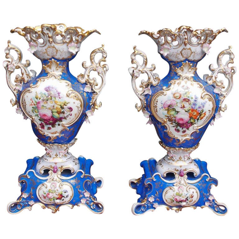 Pair of French Old Paris Decorative Vases.  Circa 1850