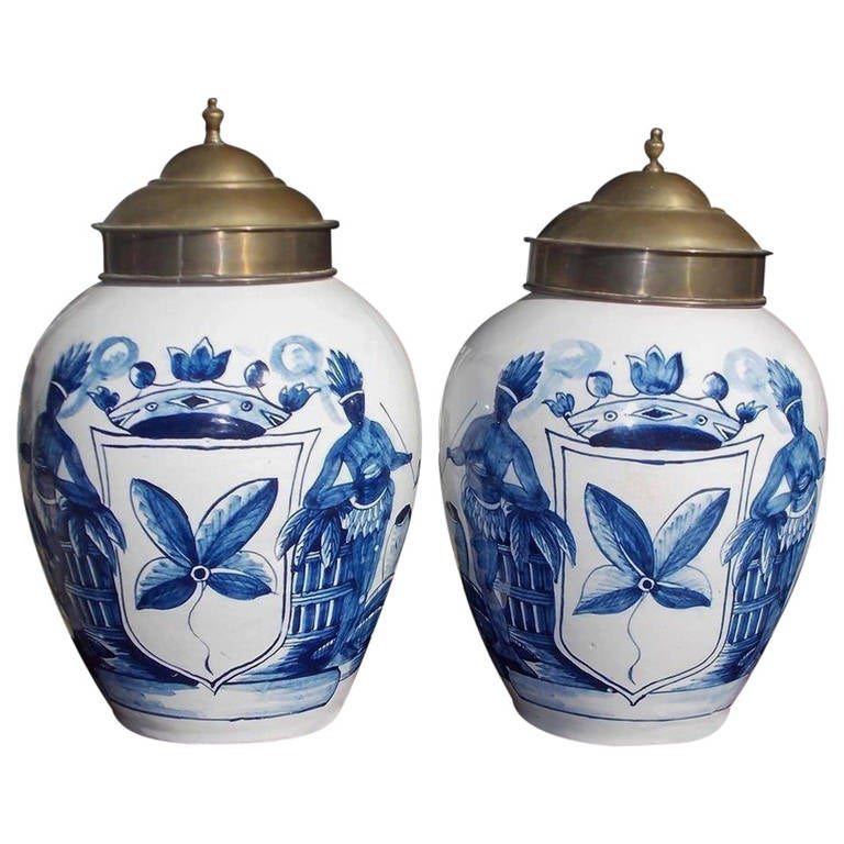 Pair of Dutch Hand-Painted and Glazed Tobacco Jars, Circa 1770