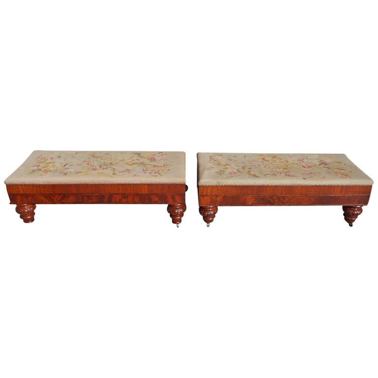 Pair of American Mahogany Needlepoint Hall Benches. Baltimore, Circa 1820