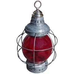American Galvanized and Brass Onion Lamp.  New York,  Circa 1910