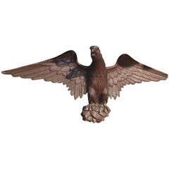 American Carved Walnut Perched Eagle. Circa 1840