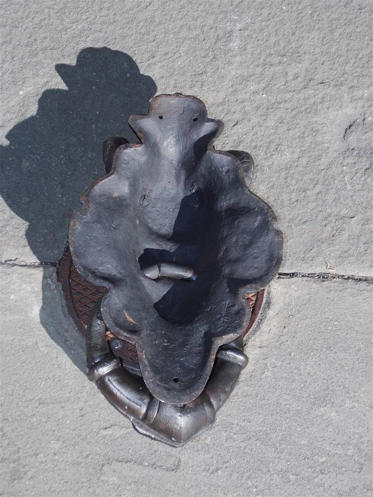 19th Century English Cast Iron Bacchus Door Knocker. Circa 1830 For Sale
