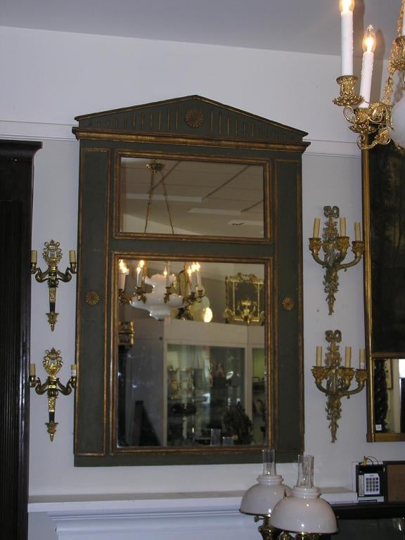 French Painted and Gilt Trumeau Mirror In Excellent Condition For Sale In Charleston, SC