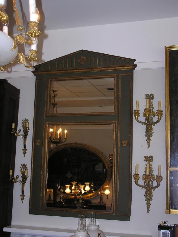 19th Century French Painted and Gilt Trumeau Mirror For Sale