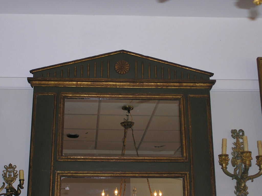 French Painted and Gilt Trumeau Mirror For Sale 1
