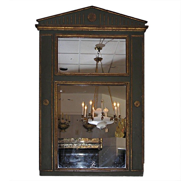French Painted and Gilt Trumeau Mirror For Sale