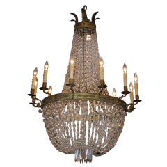 French Regency Gilt Bronze and Crystal Chandelier