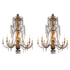 Pair of Italian Gilt Wood and Crystal Chandeliers