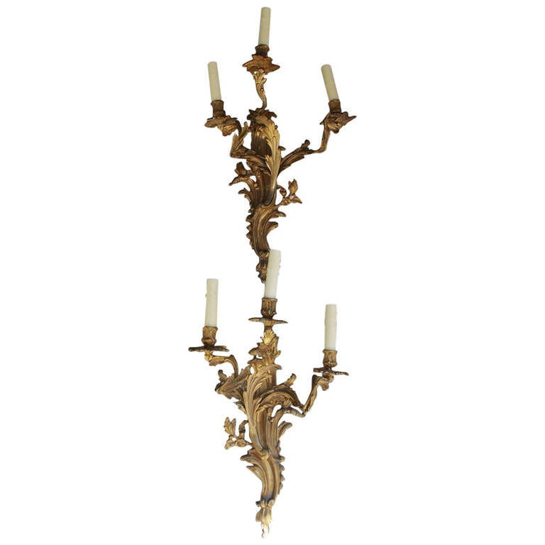 Pair of French Gilt Bronze Floral Sconces. Circa 1830