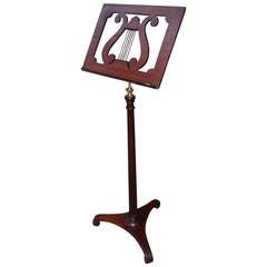 English Mahogany Lyre Ormolu Music Stand. Circa 1790
