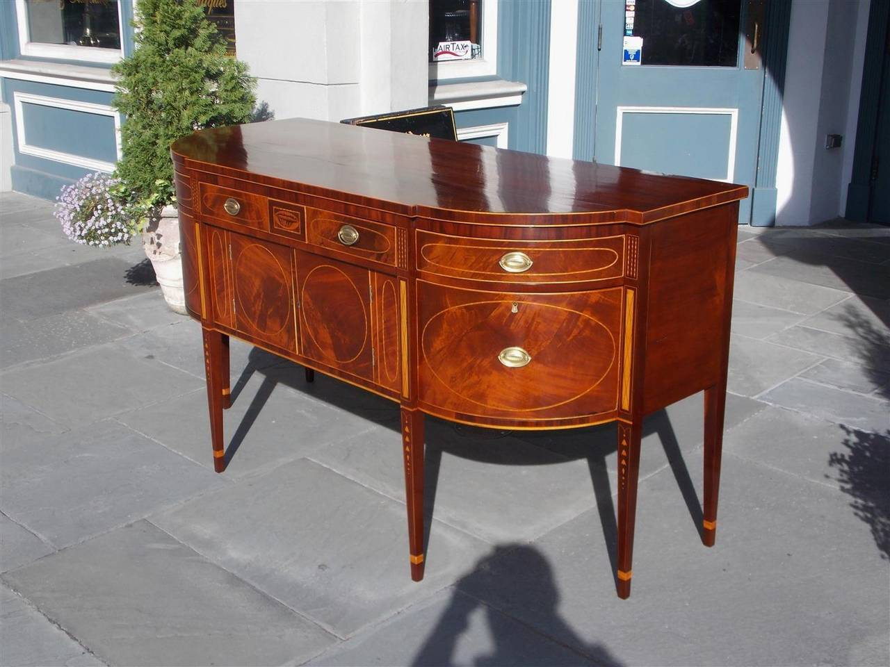 Charleston Hepplewhite Mahogany Inlaid Bow Front Sideboard, Circa ...