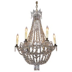 English Regency Crystal and Bronze Chandelier