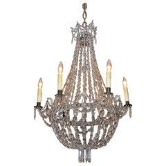 English Regency Crystal and Bronze Chandelier