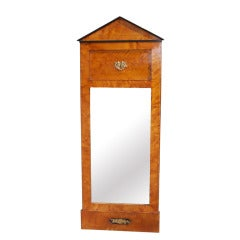Italian Satinwood and Ebonized Biedermeier Palladian Mirror, Circa 1800