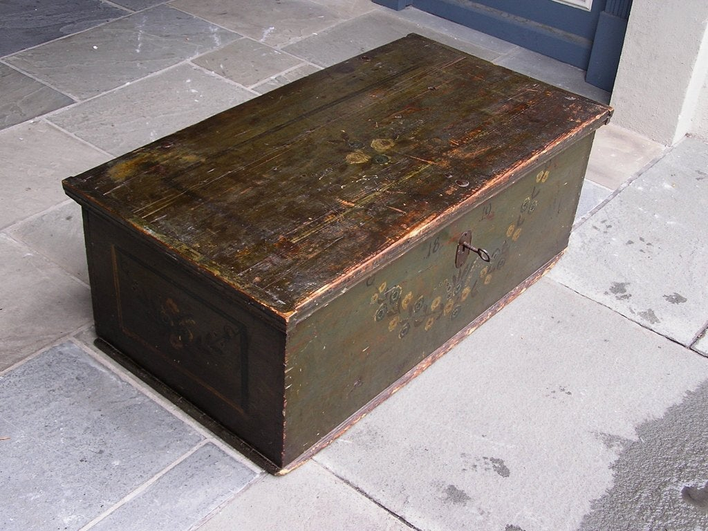 19th Century American Pine Painted Blanket Chest For Sale