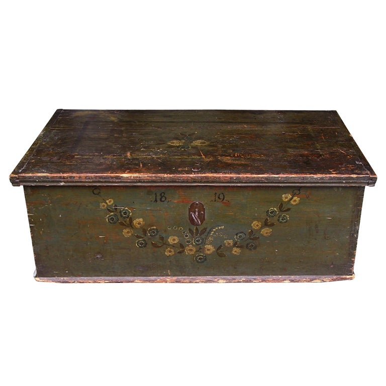 American Pine Painted Blanket Chest For Sale