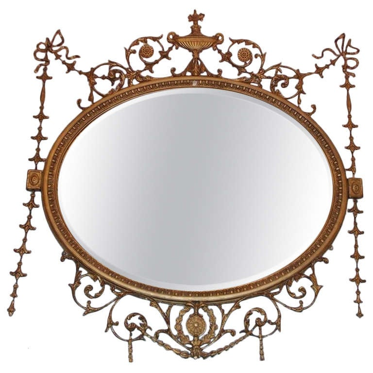 english adam style gilt oval wall mirror circa 1