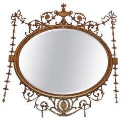 English Adam Style Gilt Oval Wall Mirror. Circa 1870